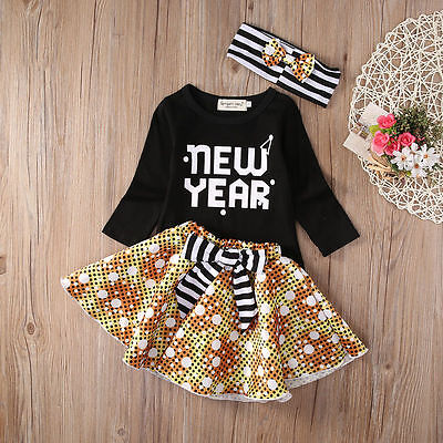 Toddler Kids Baby Girl Clothes Tops+Tutu Skirt Dress 3pcs Outfits Set 0-3Y Gifts