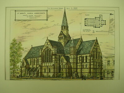 St. Mary's Church, Hammersmith, London, UK, 1881, Original Plan