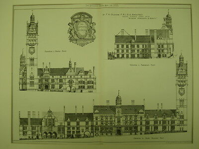 Elevations, New Municipal Offices, Nottingham, England, 1883, Original Plan