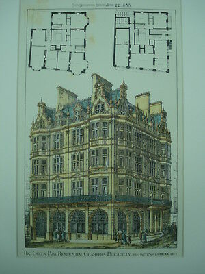 Green Park Residential Chambers, Piccadilly, London, UK, 1883, Original Plan