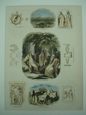 Druids, Old England, 1855, Hand-colored Renditions