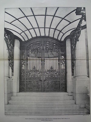 Front Door of Clarke Estate, NYC. 1901 Photogravure
