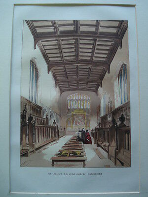 St. John's College Chapel, Cambridge, England,1845- Original, Hand-Colored Plate