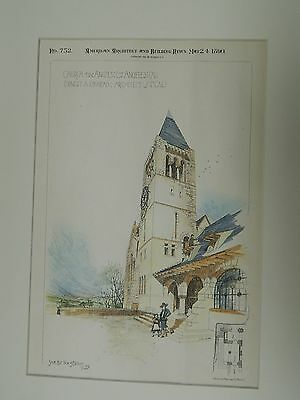 Tower& SE Entrance, Church of the Angels, Los Angeles, CA, 1890, Original Plan.