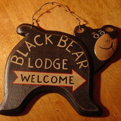 BLACK BEAR LODGE WELCOME ARROW Rustic Wood Carved Log Cabin Home Wall Sign Decor