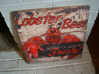 LOBSTER & BEER ALWAYS SERVED FRESH Nautical Seafood Restaurant Sign Decor NEW
