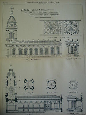 St. Phillip's Church, Birmingham, England, 1887, Original Plan