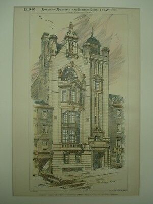 Glasgow Athenaeum, Buchanan Street, Glasgow, Scotland, 1894, Original Plan