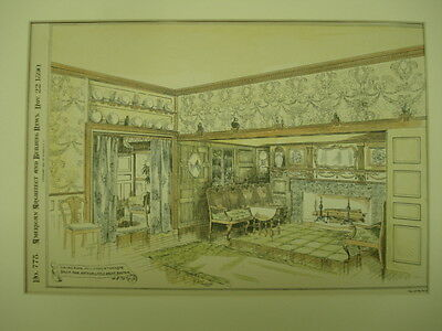 Dining Room, House of Mrs. Emmerton, Salem, MA, 1890, Original Plan