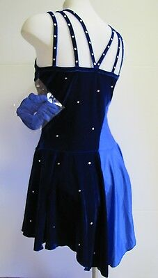 ICE SKATING DRESS Competition Figure Skate Two Blues w Crystals Larger Fit XL