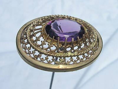Antique Hatpin Large Amethyst Glass Brass Filigree