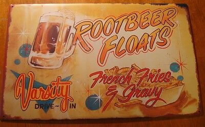 VARSITY DRIVE IN ROOTBEER FLOATS FRENCH FRIES & GRAVY Retro Style Diner Sign NEW
