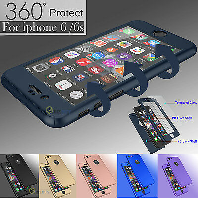 For iPhone 6S & 6 Plus 360° Full Protection Slim Hard Case + Screen Protector