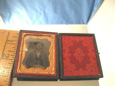 Beautiful Vintage Antique Ambrotype of a Gentleman in Gold Edged Case