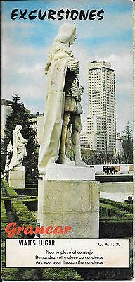 Madrid Spain Excursiones Grancar Old Brochure With Map