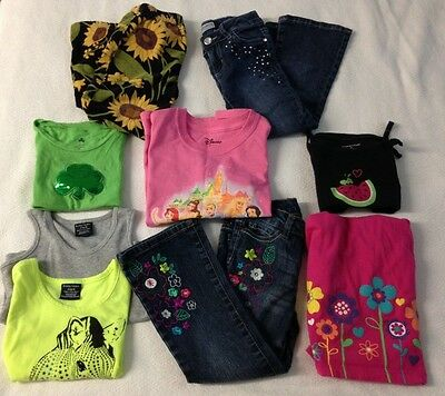9 Pieces Lot of Girl's Clothes Shirts Jeans Pants Dress Summer Clothes Size 4