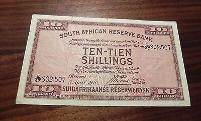 1940 South Africa 10 Shillings  1928-47 Series Rare Bank Note!