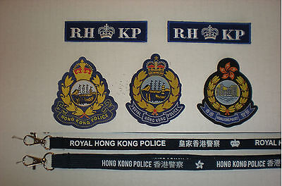Clearance Sales(8 pcs)Royal HK Police woven badges(1934-now) & 2 neckstraps, new