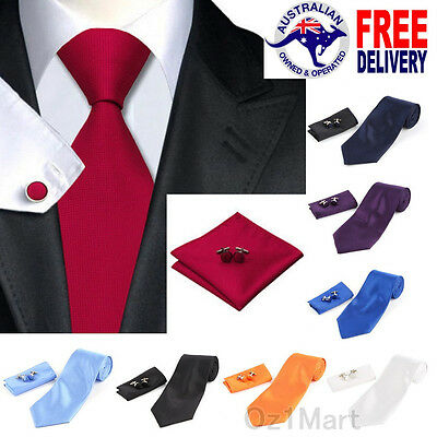 8 COLORS Premium Men's Ties Plain Silk Jacquard Formal Wedding+Cufflink+Hanky