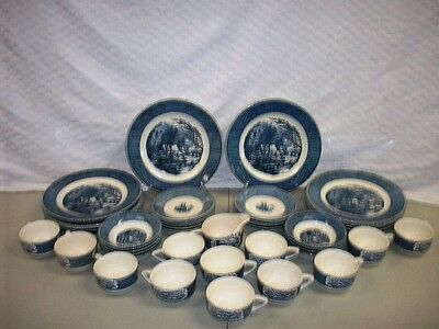 Antique CURRIER & IVES Flow Blue Royal USA China 46pc Dinnerware Dishes Set