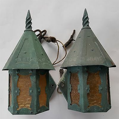 antique PAIR 2 ARTS CRAFTS WALL SCONCES stickley? gothic SLAG GLASS green patina