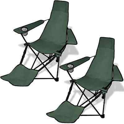 2 PC Folding Camping Chair Beach Recliner Outdoor Picnic Portable Footrest Green