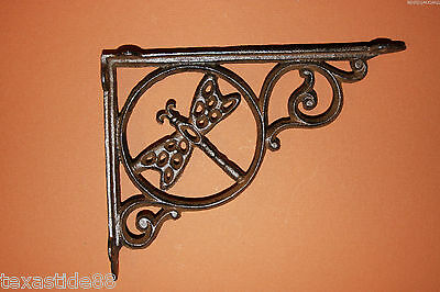 (4) Cast Iron Shelf Bracket, Dragonfly, Vintage Style, Decorative, Corbels B-10