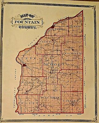 Antique 1876 Original Map of Fountain County, Indiana