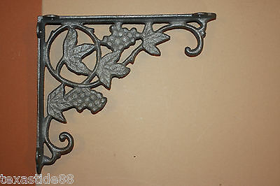 "(2)pcs,GRAPE LEAF CAST IRON SHELF BRACKET, WINE ROOM DECOR, KITCHEN, 9"",B-12"