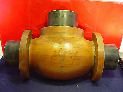 Antique Industrial Wood Foundry Discharge Valve Mold - Wall Sculpture Steampunk