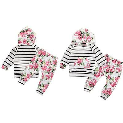 Newborn Baby Kids Girls Clothes Floral Hooded Tops Long Pants Outfits Set 0-18M