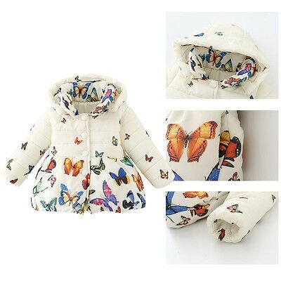 Toddler Baby Girl Bambino Cappotto Butterfly Coat Kids Winter Warm Cotton 0-2Y