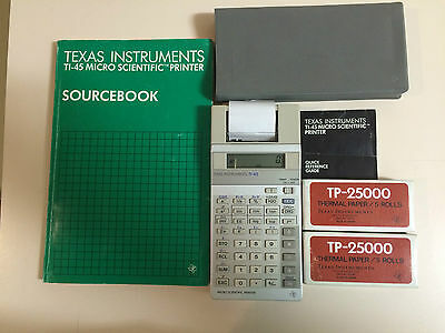 Vintage Texas Instruments TI-45 Calculator and Printer in box Manuals Paper Roll
