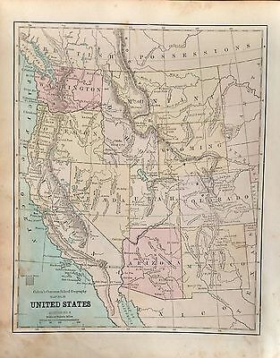 1879 Original Antique Map of the Western States by J.H. Colton