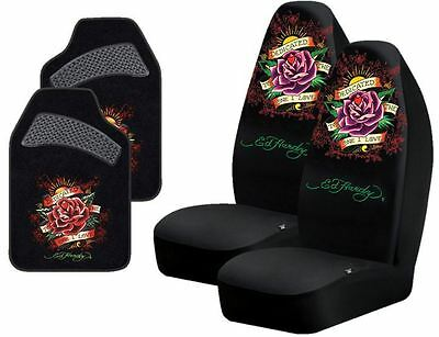 Ed Hardy Dedicated To The One I Love 4-Pc Set Seat Covers (Pair) & Floor Mats