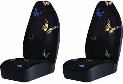 Monarch Butterfly Bucket Seat Covers (Pair) Black Color