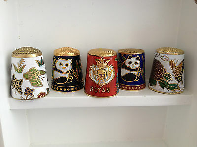 Panda Bear Floral Royan Boat Lighthouse Lot Sewing Thimble Cloisone Collection