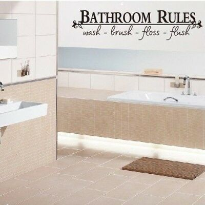 Bathroom Rules Wall Decal Sticker DIY Home Decor Vinyl Art Removable Stickers