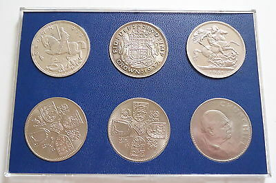 1935 1937 to 1965 UK Crown Coin Set 6 coins