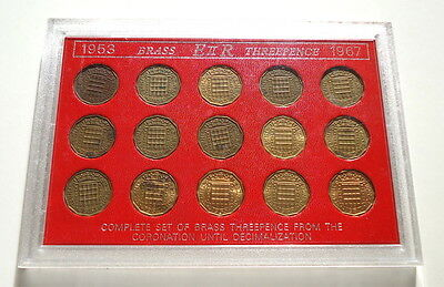1953 to 1967 GB Brass Threepence 3d Coin Set QEII (a)