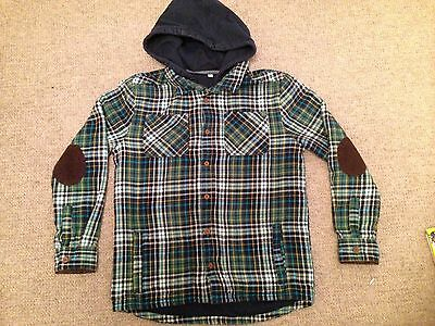 Boys M&S Hooded & Lined Checked Shirt Age 11-12