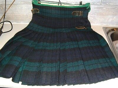 Genuime Vintage Scottish Mans Wool  Kilt And Waistcoat Black Watch Tartan