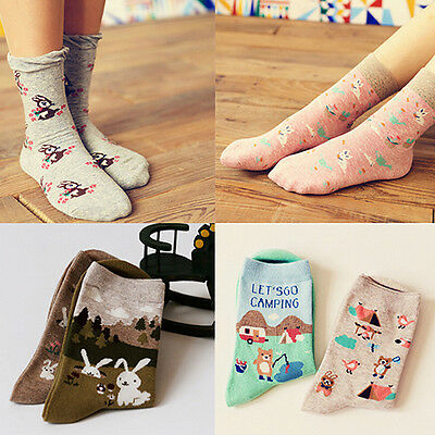 Women 2 Pairs Cute Cartoon Animal Cotton Socks Winter Warm Long Hosiery Novelty