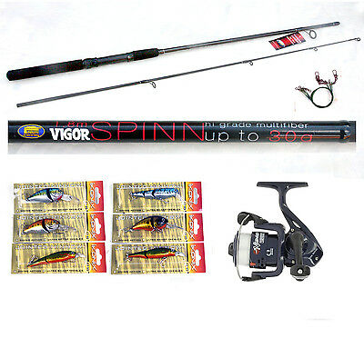 Vigor 6ft Spin Rod 4-15g & RT Reel combo with 6 Lure/plugs pike / zander/perch