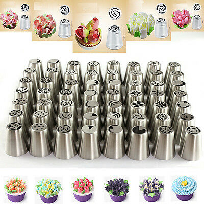 56Pcs/Set Russian Flower Icing Piping Nozzles Cake Decoration Tips Baking Tools