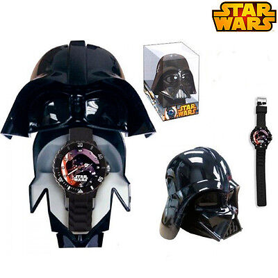 Orologio Analogico Darth Vader Star Wars Con Custodia Casco Kids Euroswan