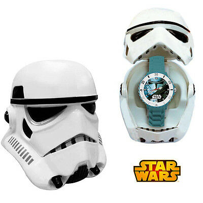 Orologio Analogico Stormtrooper Star Wars Con Custodia Casco Kids Euroswan