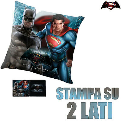 Cuscino Batman VS Superman 40 x 40 cm a 2 Lati Cameretta Bambini Blu Nero Kids