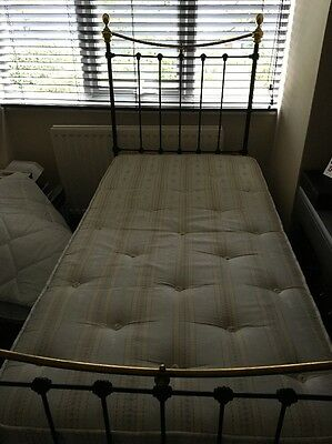 Original Victorian Cast Iron And Brass single Bed With Base And Mattress