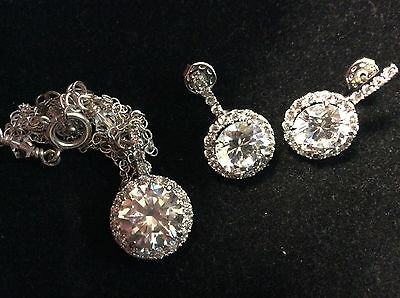 Vintage Sterling Silver White Stone Necklace And Earrings Set